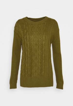 BLOCKED CABLE CREW - Jumper - dark olive
