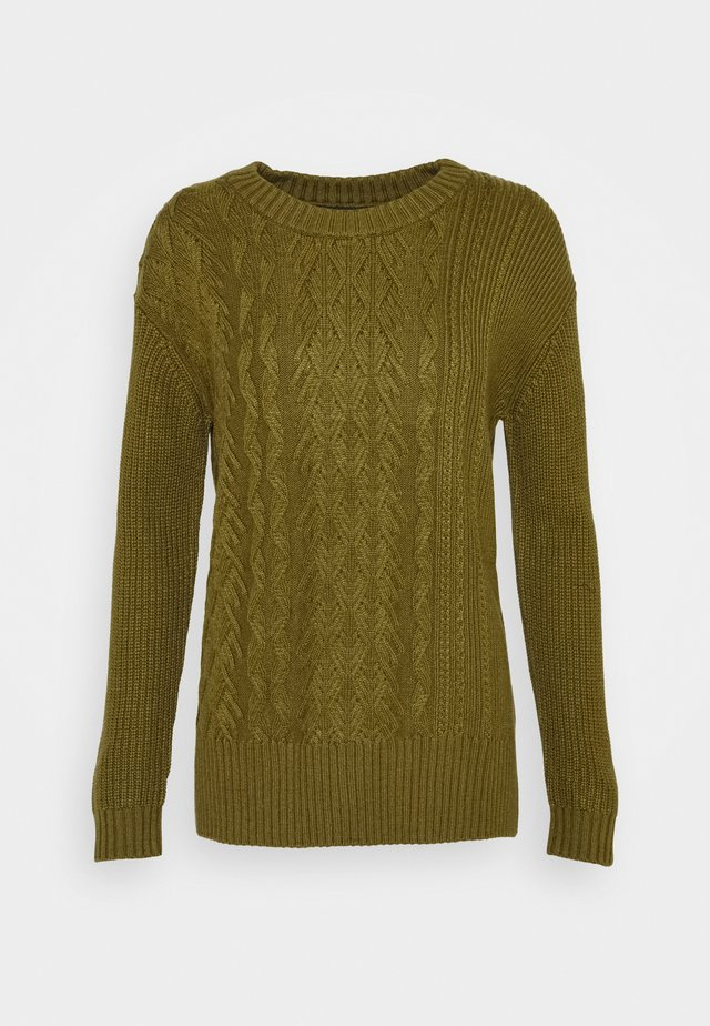 BLOCKED CABLE CREW - Pullover - dark olive
