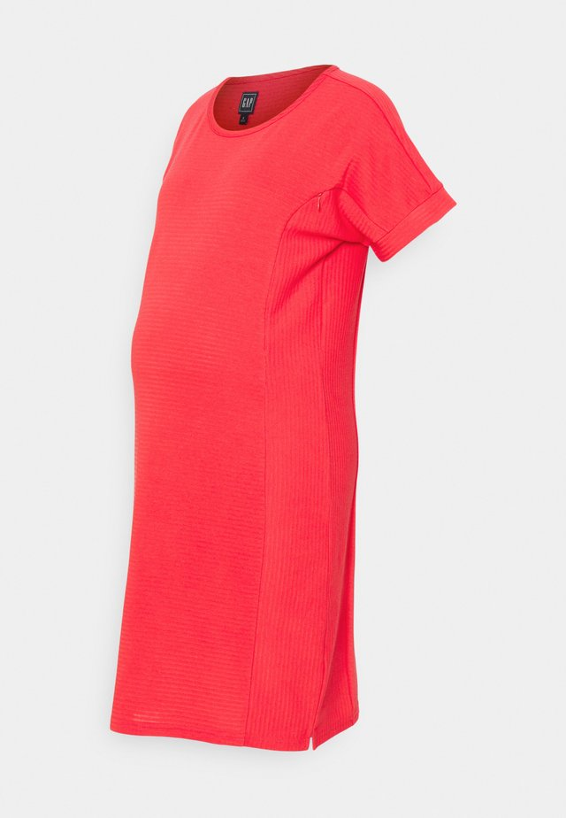 ROLL CUFF ZIP ACCESS NURSING DRESS - Gebreide jurk - rose bush