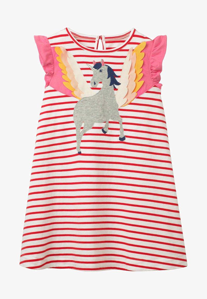 Boden - MIT FLATTERÄRMELN UND APPLIKATION - Jersey dress - naturweiß/rockabilly-rot, einhorn