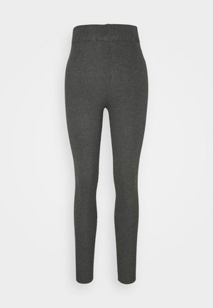 HIGH WAISTED RIBBED LEGGINGS - Leggings - Trousers - mottled dark grey