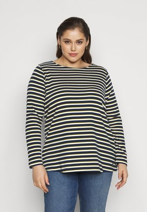 Topper langermet - navy yellow white stripe