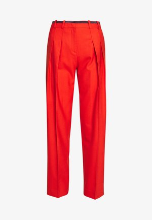 LOGO TAPE PLEAT FRONT TROUSER - Trousers - flame red