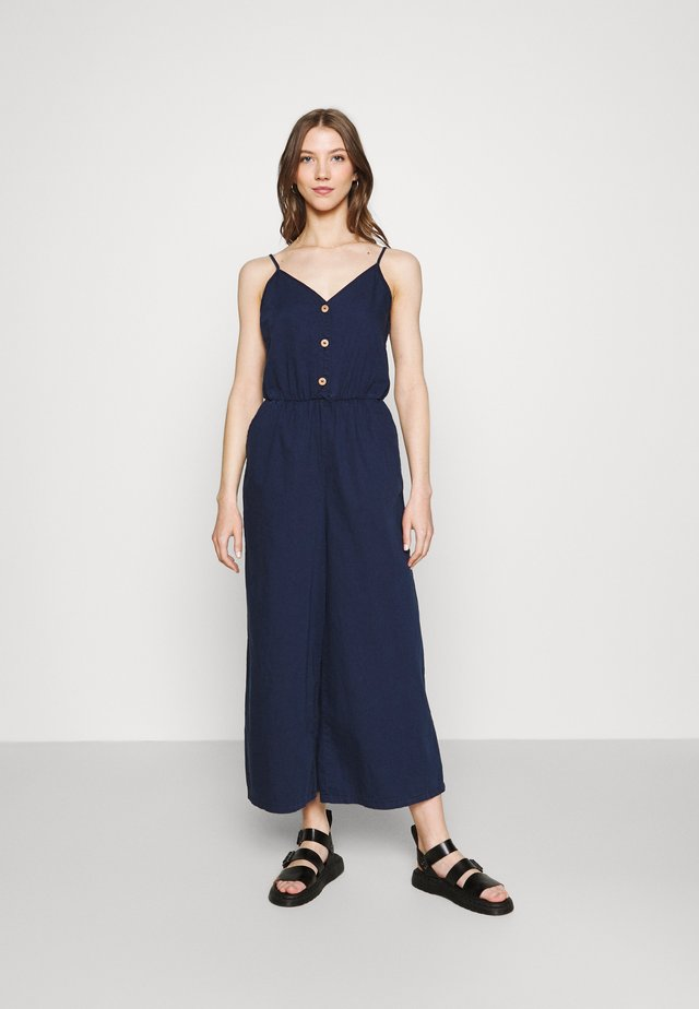 LEJA DUNGAREES - Jumpsuit - blue medium dusty unique