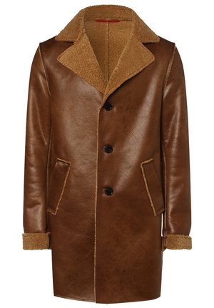 Faux leather jacket - cognac