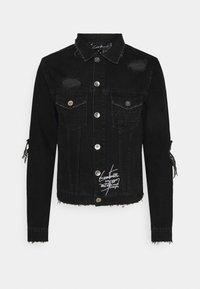 The Couture Club - LASER ETCH DISTRESSED BANDANA JACKET - Farkkutakki - washed black - 0