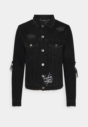 LASER ETCH DISTRESSED BANDANA JACKET - Denim jacket - washed black