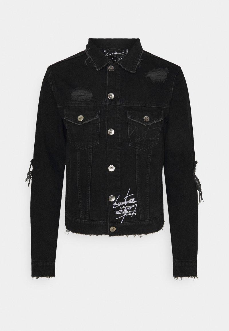The Couture Club - LASER ETCH DISTRESSED BANDANA JACKET - Farkkutakki - washed black
