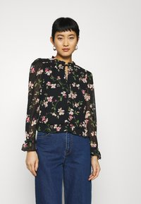 Dorothy Perkins - FLORAL DOBBY TIE NECK - Button-down blouse - black - 0
