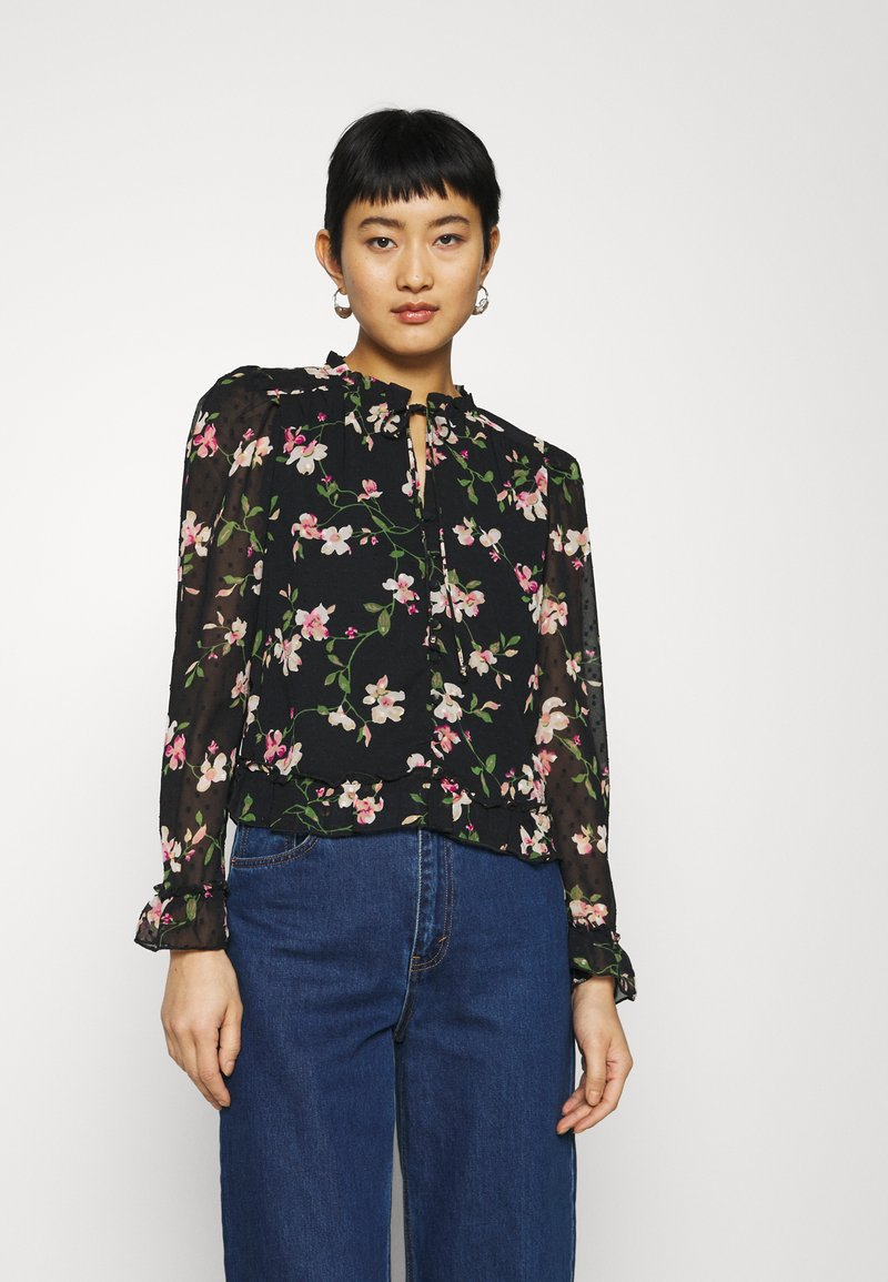 Dorothy Perkins - FLORAL DOBBY TIE NECK - Button-down blouse - black