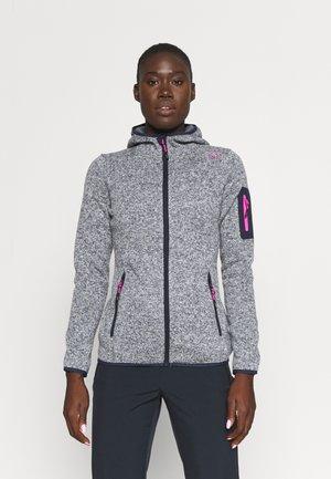 WOMAN FIX HOOD JACKET - Fleece jacket - titanio/bianco