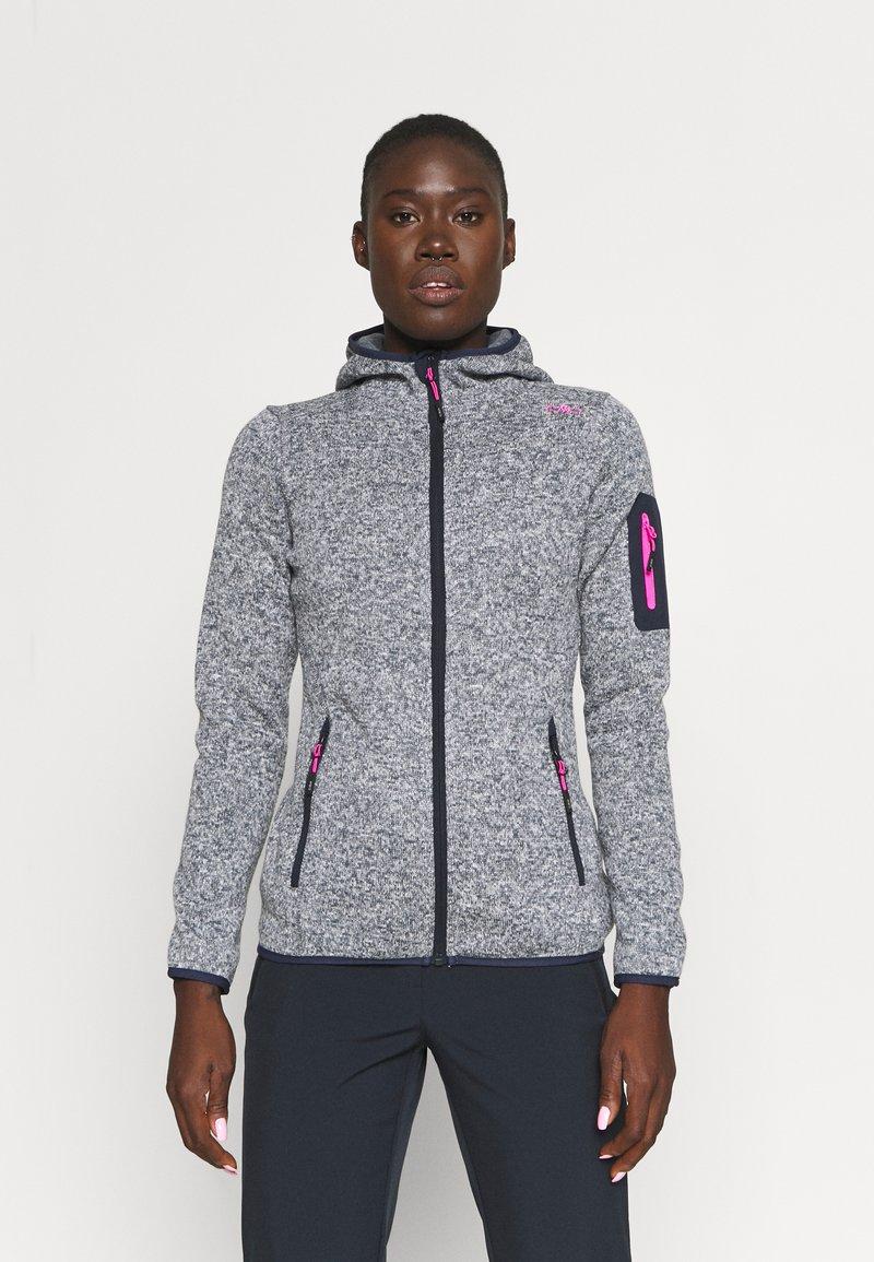CMP - WOMAN FIX HOOD JACKET - Fleece jacket - titanio/bianco