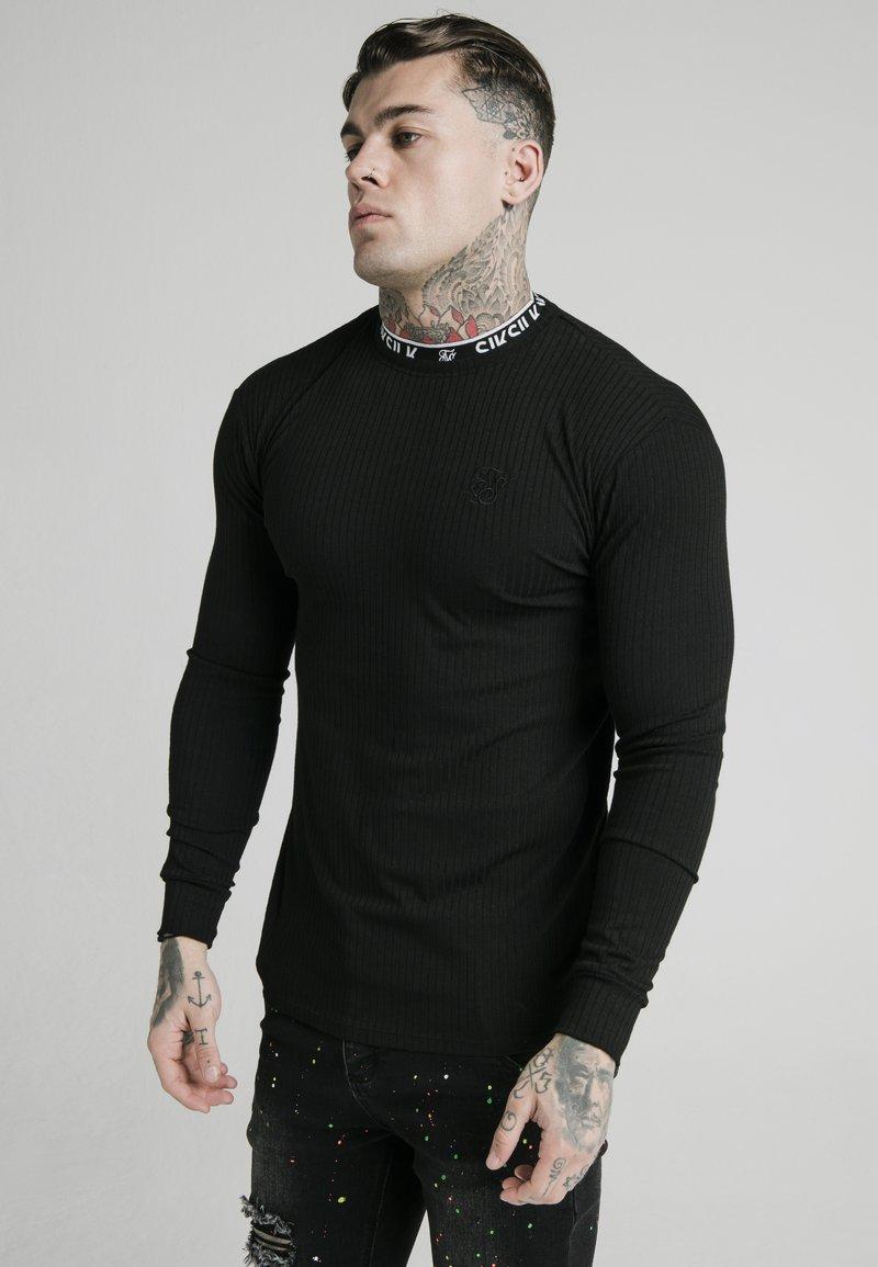 SIKSILK - RIB KNIT TEE - Topper langermet - black