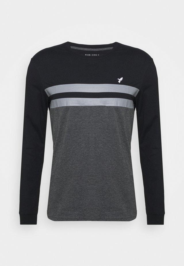Long sleeved top - black/mottled dark grey
