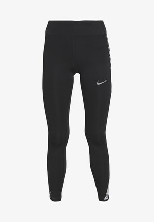 FAST - Leggings - black/reflective silver