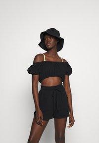 Cotton On Body - OFF THE SHOULDER LONGLINE SHORT SET - Beach accessory - black - 1