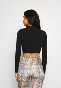 Missguided - FRILL NECK TIE FRONT CARDI - Cardigan - black - 2