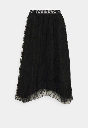 GONNA TESSUTO - A-line skirt - black