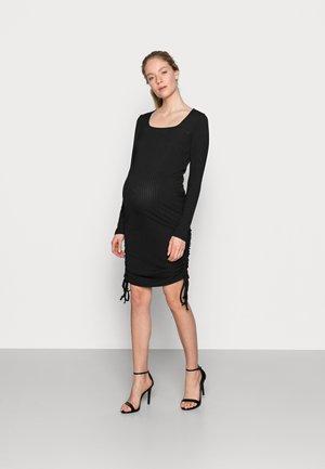 RUCHED SIDE MINI - Jumper dress - black