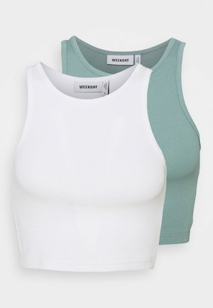 STELLA CROP 2 PACK - Débardeur - off white/dusty green