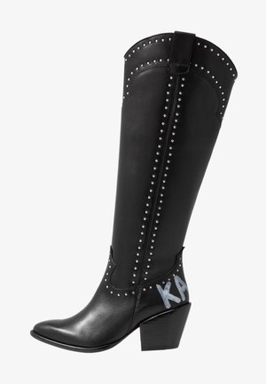 KAVALIER STUD LEG - Cowboy-/Bikerboot - black/silver