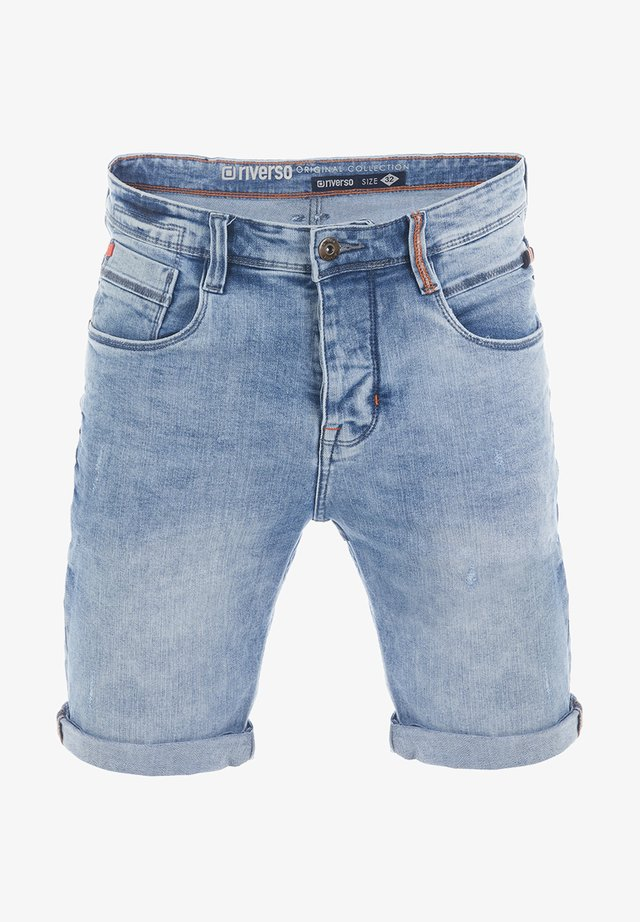 RIVTOM - Denim shorts - light blue denim