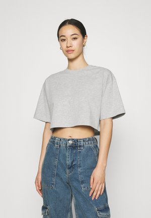 CLAIRE CROPPED TEE - T-shirts - grey melange