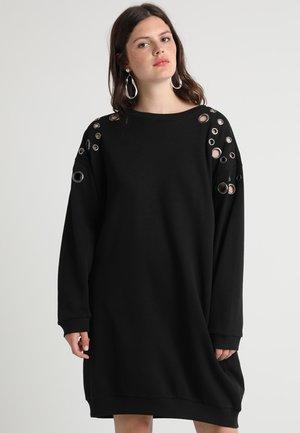 LADIES EYELET DRESS - Abito in maglia - black