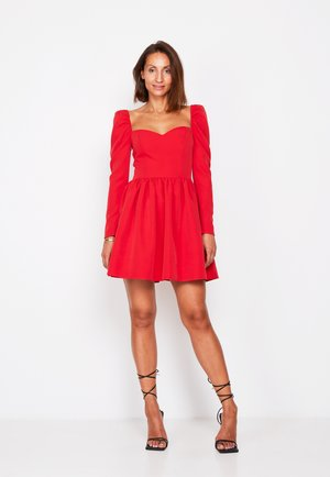 SQUARE NECK MINI SKATER  - Day dress - red