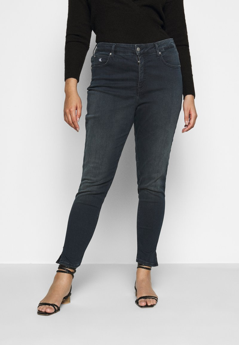 Calvin Klein Jeans Plus - HIGH RISE ANKLE - Skinny džíny - dark-blue denim