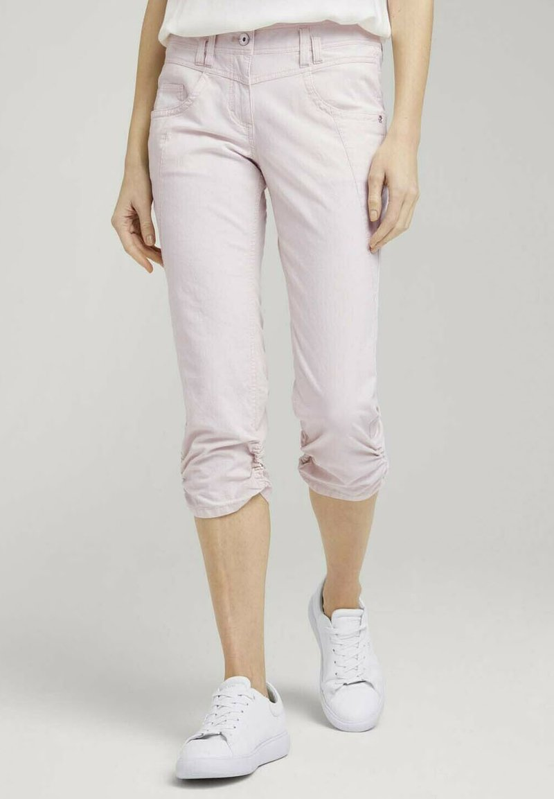 TOM TAILOR - Trousers - beige thin stripe