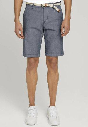 Shorts - navy white dobby structure
