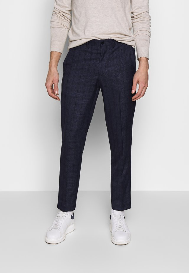 CHECK TROUSERS - Stoffhose - navy