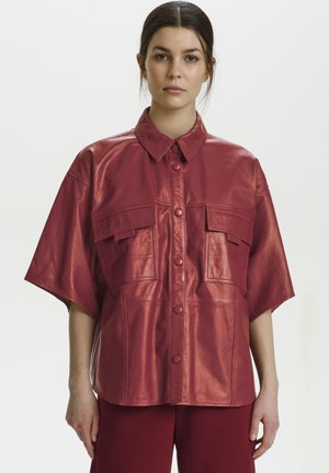 Button-down blouse - red rhubarb