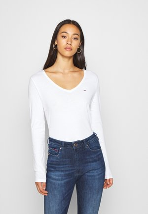 V NECK LONGSLEEVE - Long sleeved top - white