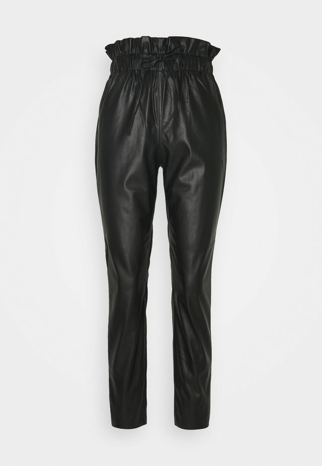 PAPERBAG TROUSER - Trousers - black