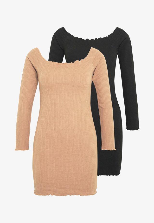 LETTUCE MINI DRESS 2 PACK  - Vestito estivo - camel/black