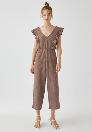MIT VOLANTS - Jumpsuit - mottled light brown