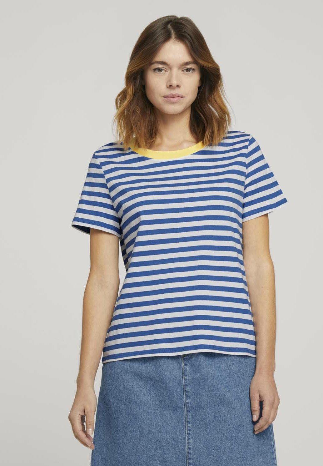 Women RELAXED STRIPE TEE - Print T-shirt - blue/white