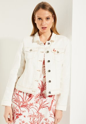 MIT BROSCHE - Denim jacket - white