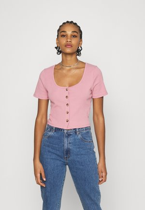 LENI BUTTON THROUGH SHORT SLEEVE - Triko s potiskem - dark mauve