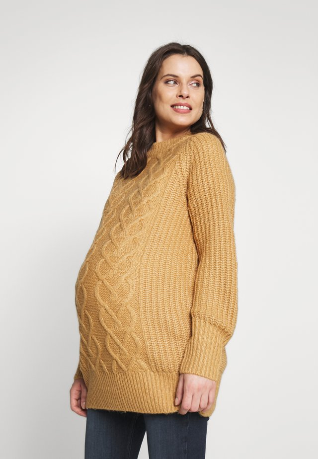 CABLE - Pullover - camel