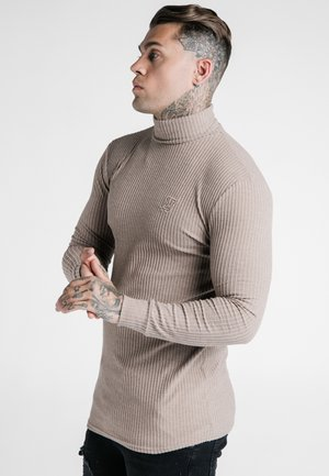 LONG SLEEVE BRUSHED TURTLE NECK - Svetr - beige