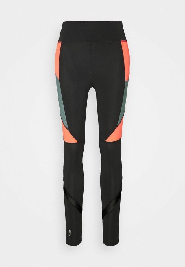ONPALANI TRAINING TIGHTS - Leggings - black/goblin blue/fiery coral