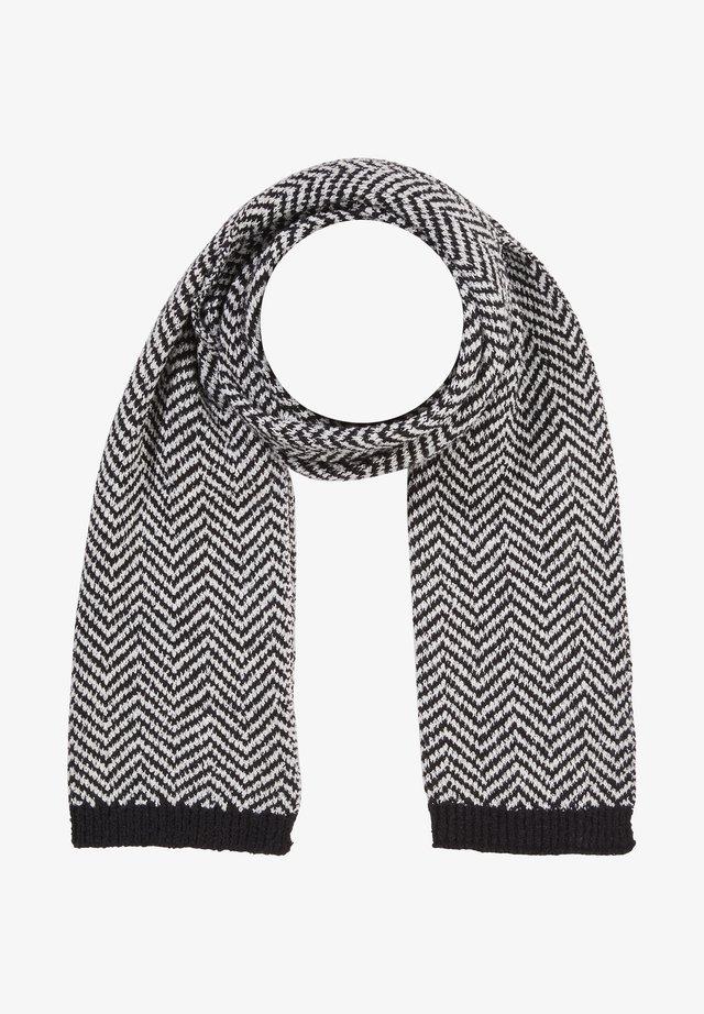 MIT STRICKMUSTER - Scarf - black herringbone knit