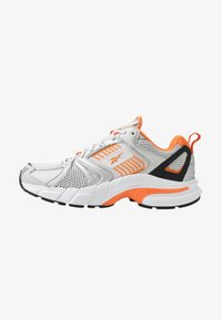 white/matte silver/high vis orange