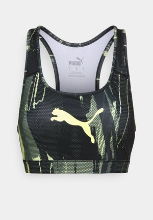 INDIVIDUALCUP SPORTS BRA - Medium support sports bra - black/asphalt/soft fluorecent yellow