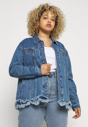 FRAYED ZIP POCKET JACKET - Denim jacket - denim blue