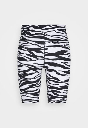 ZEBRA PRINT HIGH WAIST BIKE SHORT INSEAM - Collant - white