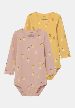 PEAR 2 PACK - Top s dlouhým rukávem - dusty pink/light dusty yellow